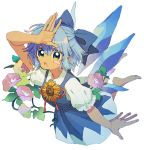 1girl barefoot blue_bow blue_dress blue_hair blush_stickers bow cirno dark_skin dress fingernails flower flying green_eyes hair_bow hand_up ice ice_wings ka_(marukogedago) looking_at_viewer parted_lips pinafore_dress pink_flower puffy_short_sleeves puffy_sleeves shirt short_sleeves simple_background solo tan tanned_cirno touhou white_background white_shirt wings