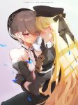bare_shoulders bianka_durandal_ataegina black_gloves black_headwear blonde_hair blush character_name durandal_(valkyrie_gloria) english_commentary ether.b eye_contact finger_to_another's_mouth gloves hair_over_one_eye honkai_(series) honkai_impact_3rd hug light_brown_hair long_hair looking_at_another mole mole_under_eye red_eyes rita_rossweisse short_hair smile standing uniform very_long_hair yuri