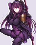 1girl absurdres armor bodysuit breasts covered_navel fate/grand_order fate_(series) gae_bolg hair_intakes highres leotard long_hair pauldrons polearm purple_bodysuit purple_hair red_eyes scathach_(fate)_(all) scathach_(fate/grand_order) shoulder_armor smile solo spear weapon yurui_shinotsuki