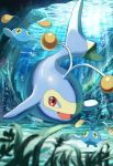 anglerfish chinchou commentary_request foam gen_2_pokemon lanturn light_beam looking_at_viewer no_humans open_mouth pokemon pokemon_(creature) red_eyes rowdon tongue underwater