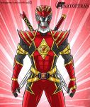 1boy artist_name artoftran belt belt_buckle bodysuit buckle helmet highres instagram_username jason_lee_scott mighty_morphin_power_rangers omega_red_ranger power_rangers red_background red_bodysuit red_helmet red_ranger shoulder_armor signature_artist_name sword sword_on_back weapon