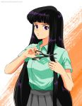 1980s_(style) 1girl artist_name bishoujo_senshi_sailor_moon black_hair cutting_hair english_commentary highres holding holding_hair holding_scissors katewind long_hair looking_down oldschool scissors solo tomoe_hotaru violet_eyes