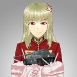 1girl anger_vein artist_request birthday_cake blonde_hair breasts cake candle caterpillar_tracks character_request commentary_request food grey_background ground_vehicle gun gundam long_hair looking_down machine_gun military military_uniform military_vehicle motor_vehicle red_eyes sweatdrop tank tiger_i translation_request uniform weapon