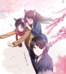 1boy 2girls aki_(neyuki41028) aldnoah.zero amifumi_inko animal_ears black_hair blurry_foreground blush brother_and_sister brown_hair cat_ears cherry_blossoms closed_eyes embarrassed eyepatch flying_sweatdrops kaizuka_inaho kaizuka_yuki kemonomimi_mode long_hair military military_uniform multiple_girls open_mouth outstretched_arms red_eyes red_scarf scarf short_hair siblings translation_request uniform violet_eyes