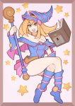 absurdres bare_shoulders blonde_hair blue_footwear book boots border crossed_legs dark_magician_girl duel_monster full_body hat highres long_hair looking_at_viewer open_mouth smile splashbrush staff star_(symbol) wand wizard_hat yuu-gi-ou yuu-gi-ou_duel_monsters
