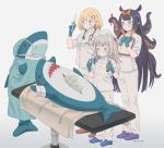 3girls alternate_costume aqua_eyes black_hair blonde_hair blue_eyes blue_gloves blue_hair commentary english_commentary eyebrows_visible_through_hair gawr_gura gloves grey_hair hair_ornament hairclip highres holding holding_notepad holding_syringe hololive hololive_english ikea_shark long_hair mask mouth_mask multicolored_hair multiple_girls needle ninomae_ina'nis notepad operating_table pants pen pointy_ears shirt short_hair spool stethoscope streaked_hair stuffed_animal stuffed_shark stuffed_toy stuffing surgery surgical_mask syringe tentacles thread twitter_username two-tone_hair two_side_up very_long_hair vinhnyu virtual_youtuber watson_amelia white_pants white_shirt