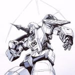 1boy autobot clenched_hands ink_(medium) looking_to_the_side mecha mirage_(transformers) monochrome no_humans open_hand reece_b_scott shoulder_cannon solo traditional_media transformers