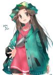 1girl bike_shorts brown_hair buttons camouflage_headwear coat collarbone commentary_request dated e-co green_coat hat leaf_(pokemon) long_hair long_sleeves looking_at_viewer looking_down open_clothes open_coat open_mouth pokemon pokemon_(game) pokemon_masters_ex shiny sidelocks simple_background solo spread_fingers teeth tongue white_background yellow_eyes