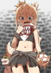 1boy 1girl :d absurdres bangs black_choker black_sarong blonde_hair blue_eyes blurry blurry_background blush bow bowser bowsette_jr. bracelet breasts brick_wall chan_seong choker commentary_request cowboy_shot crown depth_of_field eyebrows_visible_through_hair eyes_visible_through_hair grey_theme hair_between_eyes high_ponytail highres holding holding_crown jewelry looking_at_another looking_at_viewer looking_down mario_(series) mini_crown navel open_mouth ponytail raised_eyebrows redhead sarong sharp_teeth small_breasts smile solo_focus spiked_bracelet spiked_choker spiked_shell spikes super_crown sweat tail tail_wagging teeth thick_eyebrows tight turtle_shell upper_teeth waist_bow