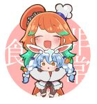 2girls :d :o animal_ear_fluff animal_ears blue_hair braid bunny_girl bunnysuit carrot_hair_ornament chaki_(teasets) chef_hat coat detached_sleeves dress drooling food_themed_hair_ornament fur-trimmed_dress fur_trim green_hair hair_ornament hat highres hololive hololive_english hug multicolored_hair multiple_girls open_mouth orange_hair rabbit_ears saliva smile takanashi_kiara twin_braids two-tone_hair usada_pekora virtual_youtuber white_coat white_hair