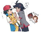 1girl 1paku54 3boys antenna_hair ash_ketchum bangs baseball_cap black_hair black_pants blue_jacket blush brown_eyes chibi chibi_inset commentary_request delia_ketchum gen_1_pokemon goh_(pokemon) hat holding holding_hands holding_pokemon jacket kiawe_(pokemon) multiple_boys open_mouth pants pikachu pokemon pokemon_(anime) pokemon_(creature) pokemon_swsh_(anime) shirt sleeveless sleeveless_jacket sparkle sweatdrop tongue translation_request white_background white_shirt