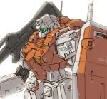 close-up gun gundam holding holding_gun holding_weapon jugon_sushi looking_down mecha mecha_request no_humans radio_antenna shield solo visor weapon white_background