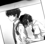 1boy 1girl aldnoah.zero amifumi_inko black_hair blurry bow bowtie depth_of_field expressionless greyscale hand_on_another's_arm hetero hidden_eyes holster kaizuka_inaho military military_uniform monochrome necktie photo school_uniform shokupa_(skp300) short_hair uniform