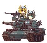 2girls :3 animal_ears blonde_hair camouflage_jacket cat_ears caterpillar_tracks chibi commentary_request fox_ears france green_eyes ground_vehicle gun highres izushi_(keeki) light_brown_hair machine_gun military military_vehicle motor_vehicle multiple_girls original short_hair smile tank type_74 weapon white_background yellow_eyes