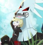 1boy bangs black_pants blonde_hair commentary_request day ear_piercing ebmquarwi gen_7_pokemon gladion_(pokemon) grass green_eyes highres legendary_pokemon long_sleeves looking_up open_mouth outdoors pants piercing pokemon pokemon_(creature) pokemon_(game) pokemon_sm silvally sitting teeth torn_clothes torn_pants