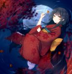 1girl autumn_leaves black_hair blush brown_eyes commentary frown japanese_clothes kimono leaf long_hair looking_at_viewer lying maple_leaf moon moonlight obi on_side original reflection ripples sash solo tabi tamanoti water