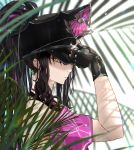 1girl black_gloves black_hair breasts dappled_sunlight day fate/grand_order fate_(series) from_side gloves hand_on_headwear hand_up hat hat_over_one_eye kdm_(ke_dama) long_hair looking_at_viewer multicolored_hair one_eye_covered palm_leaf parted_lips peaked_cap pink_hair ponytail puckered_lips sesshouin_kiara sesshouin_kiara_(swimsuit_mooncancer)_(fate) sideways_glance solo streaked_hair sunlight upper_body white_background yellow_eyes
