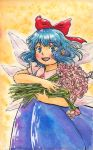 1girl absurdres bangs blouse blue_dress blue_eyes blue_hair bow cirno cowboy_shot dress eyebrows_visible_through_hair fairy fairy_wings flower hair_bow highres holding holding_flower looking_at_viewer medium_hair molokomoko open_mouth photo-referenced pinafore_dress pink_flower pink_rose puffy_short_sleeves puffy_sleeves red_bow red_ribbon ribbon rose short_sleeves smile solo standing tagme touhou traditional_media watercolor_(medium) wavy_hair white_blouse wings yellow_background