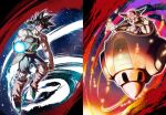 2boys armor bardock black_eyes black_hair blood blood_on_face bruise dragon_ball dragon_ball_z energy_ball floating frieza full_body headband horns injury laughing male_focus mattari_illust multiple_boys muscle open_mouth red_eyes smile torn_clothes