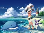 1girl bike_shorts black_legwear brown_hair clouds commentary_request day delcatty eyelashes fanny_pack gen_3_pokemon lighthouse may_(pokemon) open_mouth outdoors pokemon pokemon_(creature) pokemon_(game) pokemon_rse red_bandana rowdon sand shoes sky socks standing tongue wailmer water