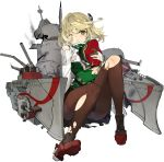 1girl :< andrea_doria_(blue_oath) artist_request bangs black_skirt blonde_hair blue_oath blush boots breasts closed_mouth gloves green_eyes hat highres holding holding_clothes holding_hat long_sleeves medium_breasts military military_uniform official_art one_eye_closed pantyhose pleated_skirt rigging short_hair sitting skirt smoke solo torn_clothes torn_legwear transparent_background under_boob uniform