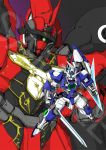 00_qan[t] close-up floating green_eyes gundam gundam_00 gundam_build_fighters gundam_exia gundam_unicorn highres holding holding_sword holding_weapon kuzutetsu mecha no_humans one-eyed redesign sample sinanju sword v-fin watermark weapon