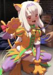 1girl amakuri3000 animal_ears bangs bell bell_collar blush bowl breasts cat_ears cat_tail collar dress fake_animal_ears fate/grand_order fate_(series) gloves hairband heart heart-shaped_pupils heroic_spirit_festival_outfit jingle_bell long_hair navel open_mouth orange_dress paw_gloves paw_shoes paws pet_bowl pet_play purple_hairband purple_legwear red_eyes shoes sidelocks sitonai small_breasts smile squatting symbol-shaped_pupils tail thigh-highs white_hair