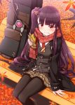 1girl arm_support autumn_leaves bangs bench black_coat black_legwear blush brown_skirt closed_mouth coat commentary_request eyebrows_visible_through_hair feet_out_of_frame food food_on_face girls_frontline grey_vest highres holding holding_food long_hair long_sleeves looking_at_viewer on_bench one_side_up open_clothes open_coat pantyhose park_bench plaid plaid_skirt pleated_skirt purple_hair red_eyes red_scarf sansei_rain scarf shirt sitting sitting_on_bench skirt sleeves_past_wrists smile solo taiyaki very_long_hair vest wa2000_(girls_frontline) wagashi white_shirt