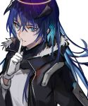 1girl 3o_c arknights bangs black_jacket blue_eyes blue_hair commentary finger_to_mouth fur-trimmed_jacket fur_trim grey_shirt hair_between_eyes halo hand_up horns index_finger_raised jacket long_hair looking_at_viewer mostima_(arknights) open_clothes open_jacket shirt simple_background solo upper_body white_background