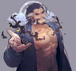 1boy abs ahoge bara bare_chest chest daikoku_(tokyo_houkago_summoners) dark_blue_hair facial_hair forked_eyebrows jacket male_focus manly multicolored_hair muscle mustache navel navel_hair nipples open_clothes open_jacket orange_eyes rybiokaoru short_hair sideburns solo thick_eyebrows tokyo_houkago_summoners two-tone_hair white_hair