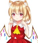 1girl animal_ear_fluff animal_ears arms_up blush breasts cat_ears commentary cravat error eyebrows_visible_through_hair flandre_scarlet hair_between_eyes highres kemonomimi_mode looking_at_viewer no_headwear nyanyanoruru paw_pose puffy_short_sleeves puffy_sleeves red_eyes red_skirt red_vest shiny shiny_hair shirt short_sleeves simple_background skirt small_breasts solo standing touhou upper_body vest white_background white_shirt wings yellow_neckwear