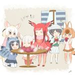 1boy 5girls :3 :d animal_ears bird_tail black_hair blonde_hair blush brown_hair captain_(kemono_friends) chibi closed_eyes commentary_request common_raccoon_(kemono_friends) curtains dhole_(kemono_friends) dog_ears eating fennec_(kemono_friends) food fox_ears frilled_sleeves frills grey_hair hat head_wings japanese_crested_ibis_(kemono_friends) kemono_friends_3 kneeling multicolored_hair multiple_girls open_mouth pleated_skirt raccoon_ears raccoon_tail redhead scarlet_ibis_(kemono_friends) skirt smile smug sparkle standing steam sweet_potato table tail uzuki_machi white_hair white_headwear wide_sleeves window
