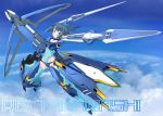 1girl alice_gear_aegis blue_hair character_name ebi_(selinanyan) flying grey_eyes gun highres holding holding_gun holding_weapon looking_at_viewer mecha_musume sky solo takanashi_rei tied_hair weapon