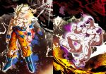 2boys angry blonde_hair blood blood_on_face bruise clenched_hands clenched_teeth closed_mouth dragon_ball dragon_ball_z floating frieza full_body injury male_focus mattari_illust multiple_boys muscle son_gokuu super_saiyan super_saiyan_1 tail teeth torn torn_clothes