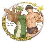 2boys bara black_hair bobfosse bulge character_request chest facial_hair goatee green_eyes horned_mask looking_at_viewer male_focus manly multiple_boys muscle nipples pointing pointing_at_viewer short_hair taurus_mask thick_thighs thighs tight tokyo_houkago_summoners wrestling_outfit