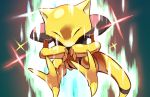 abra closed_eyes commentary creature gen_1_pokemon hyou_(hyouga617) no_humans pokemon pokemon_(creature) shiny sparkle tail toes yellow_skin