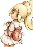 1girl :> backpack bag blonde_hair closed_mouth commentary_request eyelashes floating_hair green_eyes highres holding_strap kisama lillie_(pokemon) long_hair looking_at_viewer looking_back pleated_skirt poke_ball poke_ball_(basic) pokemon pokemon_(game) pokemon_sm ponytail shirt short_sleeves simple_background skirt smile solo white_background white_skirt