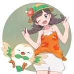 1girl ;d bangs bare_arms commentary_request cowboy_shot eyebrows_visible_through_hair eyelashes gen_7_pokemon hands_up hat hat_ribbon highres hiryoou holding holding_hair looking_at_viewer one_eye_closed open_mouth pokemon pokemon_(creature) pokemon_(game) pokemon_usum ribbon rowlet selene_(pokemon) shorts smile tongue twintails white_shorts