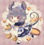 1girl alternate_costume animal_ears apron argyle argyle_background black_footwear black_skirt blush bow capelet cheese chibi commentary_request doily enmaided food full_body grey_hair grey_vest highres holding holding_plate jewelry long_sleeves macaron maid maid_headdress mouse_ears mouse_tail nazrin nikorashi-ka open_mouth pendant plate red_eyes shirt shoes short_hair skirt socks solo tail tail_bow touhou vest waist_apron white_legwear white_shirt yellow_bow