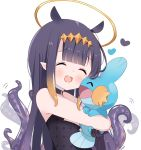 1girl :d ^_^ artist_name bangs bare_shoulders black_dress black_hair blush brown_hair closed_eyes commentary crossover deyui dress eyebrows_visible_through_hair gen_3_pokemon gradient_hair halo heart highres hololive hololive_english hug long_hair mudkip multicolored_hair ninomae_ina'nis open_mouth pointy_ears pokemon pokemon_(creature) sidelocks signature simple_background smile tentacles upper_body upper_teeth virtual_youtuber white_background