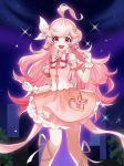 1girl :d absurdres ahoge bare_shoulders clenched_hands detached_sleeves elsword eyebrows_visible_through_hair gloves hair_ribbon heart highres laby_(elsword) long_hair looking_at_viewer open_mouth pink_eyes pink_hair pink_skirt power_(lu_power) puffy_short_sleeves puffy_sleeves ribbon short_sleeves skirt smile solo very_long_hair white_gloves white_ribbon