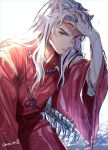 1boy animal_ears bead_necklace beads closed_mouth cowboy_shot day dog_ears fang_necklace frown hand_in_hair hand_on_own_head hand_up highres inuyasha inuyasha_(character) japanese_clothes jewelry long_hair long_sleeves male_focus motobi_(mtb_umk) necklace ribbon-trimmed_sleeves ribbon_trim solo sword water weapon wet wet_clothes wet_hair white_background white_hair wide_sleeves yellow_eyes