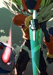 1boy after_(artist) android blonde_hair capcom cape cowboy_shot energy_blade energy_sword facing_viewer helmet highres holding holding_weapon long_hair male_focus rockman rockman_zero serious solo sword weapon zero_(rockman)