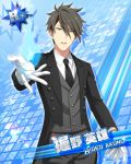 akuno_hideo black_hair brown_eyes character_name idolmaster idolmaster_side-m short_hair smile tuxedo