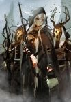 1girl 2others absurdres arknights bangs bird brown_eyes cloak commentary_request day expressionless eyebrows_visible_through_hair feet_out_of_frame hair_between_eyes highres holding holding_staff horns long_hair mo_ne multiple_others outdoors shining_(arknights) sidelocks silver_hair staff