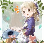 1girl :d bangs blue_jacket blue_umbrella blush book bow brown_eyes brown_hair chinese_zodiac commentary_request cropped_jacket dress earrings eyebrows_visible_through_hair floral_print from_behind hair_between_eyes hair_bow holding holding_book idolmaster idolmaster_cinderella_girls idolmaster_cinderella_girls_starlight_stage jacket jewelry long_hair long_sleeves looking_at_viewer looking_back morikubo_nono mouse notice_lines open_book open_clothes open_jacket open_mouth oriental_umbrella petals print_jacket print_umbrella purple_bow sitting smile solo tree tree_stump umbrella wariza white_dress wide_sleeves year_of_the_rat yukie_(kusaka_shi)