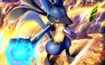 clouds commentary_request energy fur gen_4_pokemon hand_up leaves_in_wind lucario outdoors pokemon pokemon_(creature) red_eyes rowdon spikes standing toes