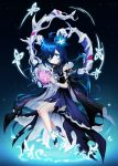1girl absurdres ahoge blue_eyes blue_flower blue_hair bright_pupils dark_blue_hair dress elsword flower hair_flower hair_ornament highres long_hair looking_at_viewer nisha_(elsword) nisha_labyrinth_(elsword) power_(lu_power) sleeveless sleeveless_dress smile solo star_(symbol) very_long_hair white_pupils