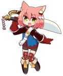 1girl 7th_dragon 7th_dragon_(series) :d animal_ear_fluff animal_ears bangs belt belt_buckle bike_shorts black_footwear black_shorts blue_jacket blush boots buckle cat_ears commentary_request eyebrows_visible_through_hair fang full_body gloves green_eyes hair_between_eyes hair_bobbles hair_ornament hand_up harukara_(7th_dragon) highres holding holding_sword holding_weapon jacket knee_boots long_sleeves looking_at_viewer naga_u one_side_up open_mouth pink_hair red_gloves short_shorts shorts simple_background smile solo striped striped_legwear sword thigh-highs thighhighs_under_boots weapon white_background white_belt