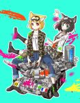 2girls absurdres amx_30 amx_30b amx_30b2_brenus animal_ears breasts camouflage_jacket cat_ears caterpillar_tracks commentary_request controller fox_ears france french_flag green_background green_eyes ground_vehicle gun highres huge_filesize izushi_(keeki) machine_gun military military_vehicle motor_vehicle multiple_girls open_mouth original overalls paint pants remote_control short_hair small_breasts smile tank weapon